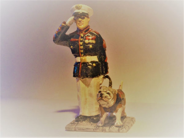U.S.M.C Sergeant with Bulldog mascot